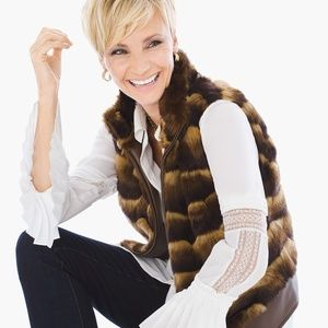 Chico's size 2 women's faux fur faux leather vest